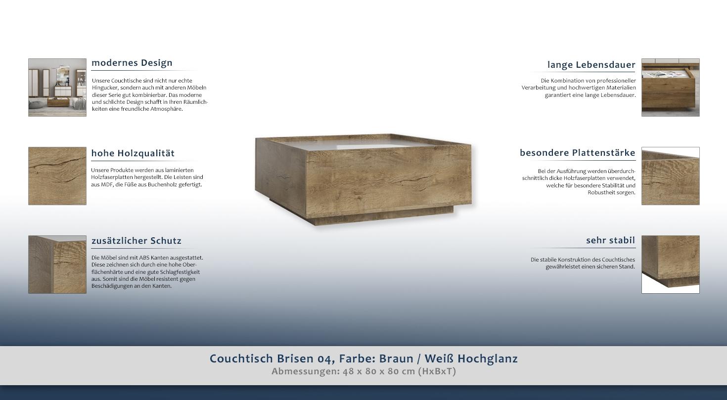 Couchtisch Brisen 04 Farbe Braun Weiss Hochglanz 48 X 80 X 80 Cm H X B X T