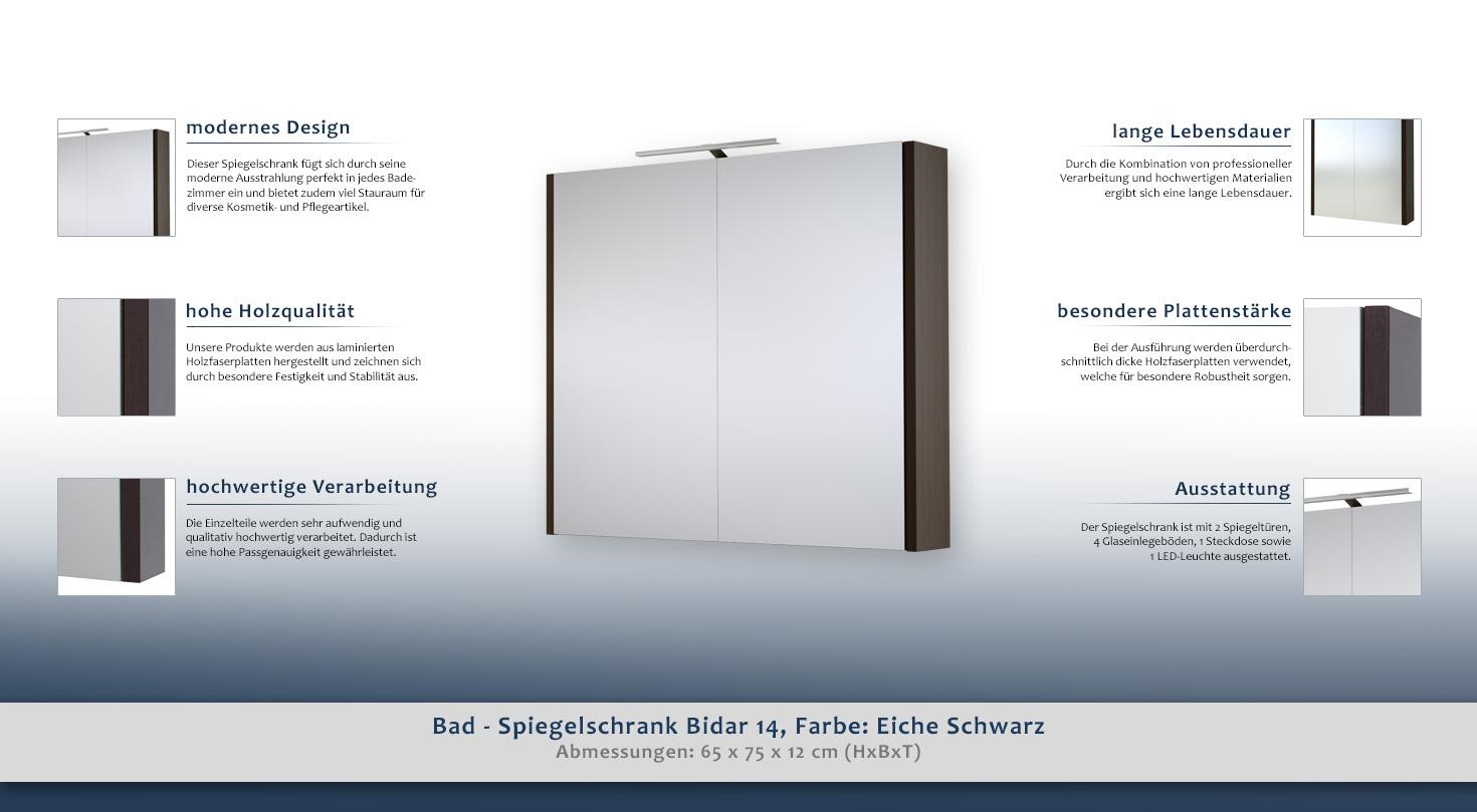 Bad spiegelschrank bidar 14 farbe eiche schwarz 65 x for Bad spiegelschrank schwarz
