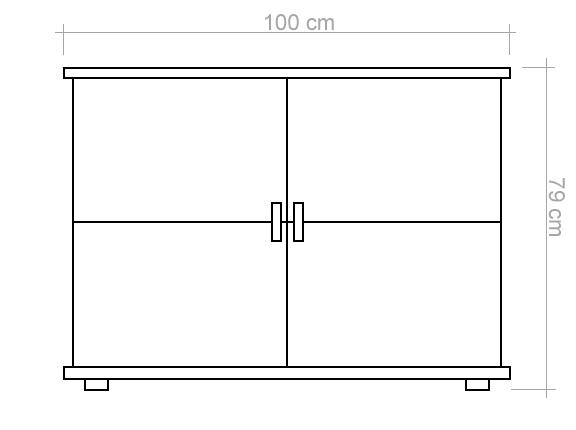 sideboard kommode k chenschrank 100 cm breit t ren 2 h he cm 79 l nge tiefe cm 50. Black Bedroom Furniture Sets. Home Design Ideas